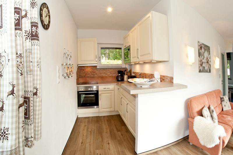 Offene Wohnküche:Spülmaschine, Mikrowelle, Herd und Kühlschrank mit *** Sterne Kühlfach